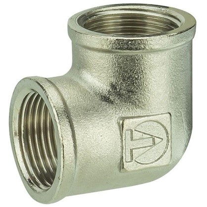 Угол Valtec внутренняя-внутренняя резьба 3/4 мм никелированная латунь