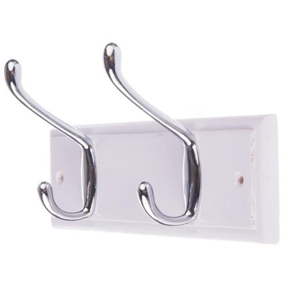 Вешалка настенная для одежды 2/1 крючка 22х9.5х7 см цвет белый
