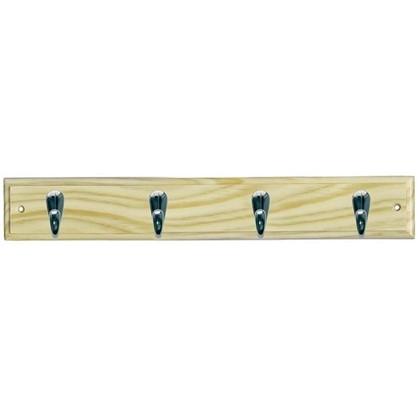 Вешалка настенная для одежды 4 крючка 68х7х5.5 см цвет сосна