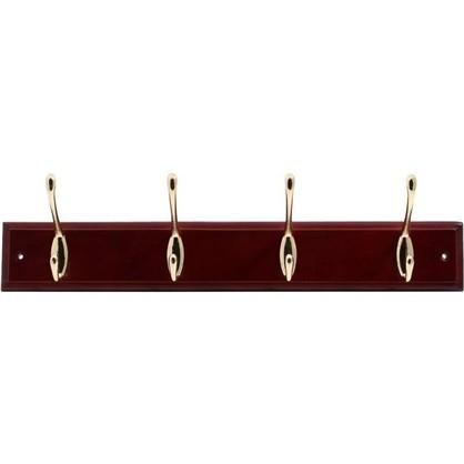 Вешалка настенная для одежды 4/1 крючка 40х9.5х7 см цвет красное дерево