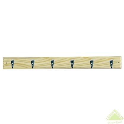 Вешалка настенная для одежды 6 крючка 68х7х5.5 см цвет сосна