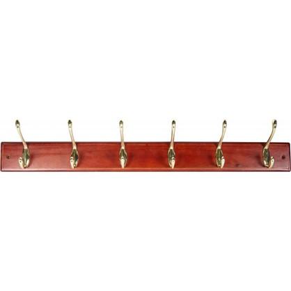 Вешалка настенная для одежды 6/3 крючка 68х9.5х7 см цвет красное дерево