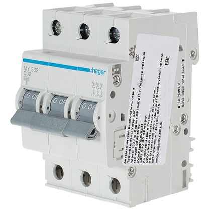 Автоматический выключатель Hager 3 полюса 32 A