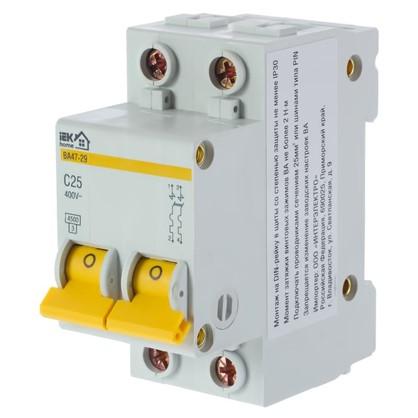 Купить Автоматический выключатель IEK Home В А47-29 2 полюса 25 А дешевле