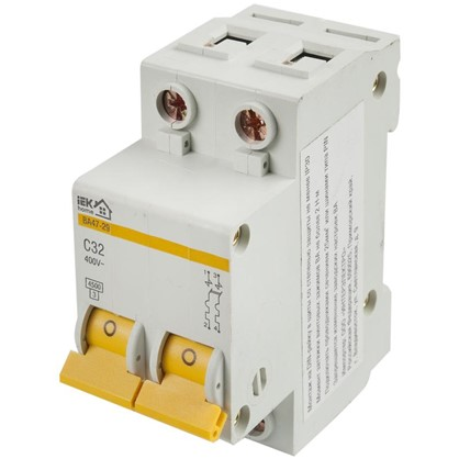 Автоматический выключатель IEK Home В А47-29 2 полюса 32 А