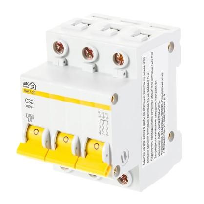 Купить Автоматический выключатель IEK Home В А47-29 3 полюса 32 А дешевле