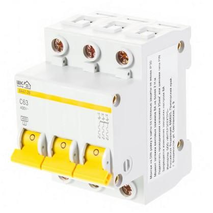 Автоматический выключатель IEK ВА47-29 3 полюса 63 А