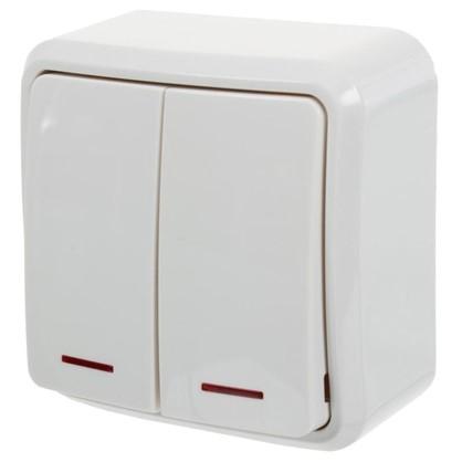 Купить Выключатель двойной с подсветкой цвет белый дешевле