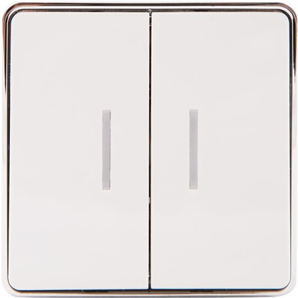 Выключатель Gallant с подсветкой 2 клавиши цвет белый