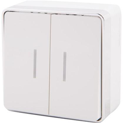 Купить Выключатель Gallant с подсветкой 2 клавиши цвет белый дешевле