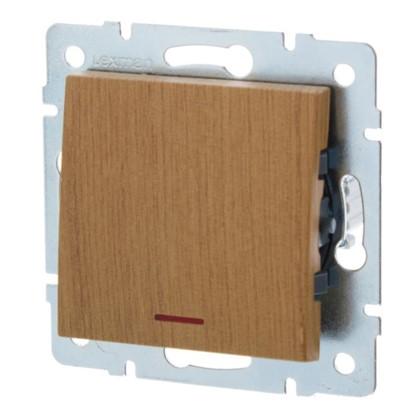Выключатель Lexman Виктория 1 клавиша с подсветкой цвет дуб классический матовый