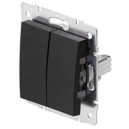Выключатель Lexman Виктория 2 клавишицвет черный бархат матовый
