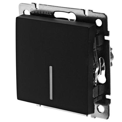 Выключатель Werkel 1 клавиша с подсветкой проходной цвет черный