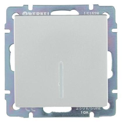 Выключатель Werkel 1 клавиши с подсветкой проходной цвет серебро