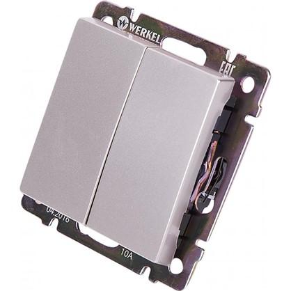 Выключатель Werkel 2 клавиши проходной цвет серебро
