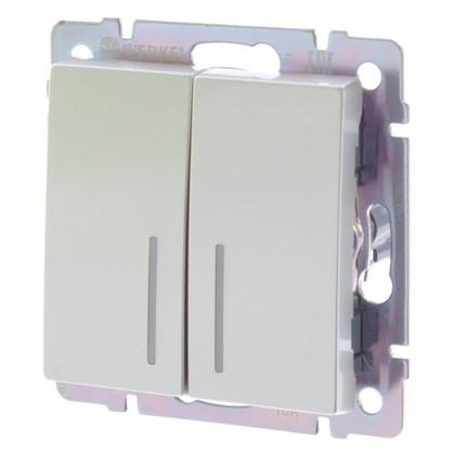 Купить Выключатель Werkel 2 клавиши с подсветкой цвет серебро дешевле