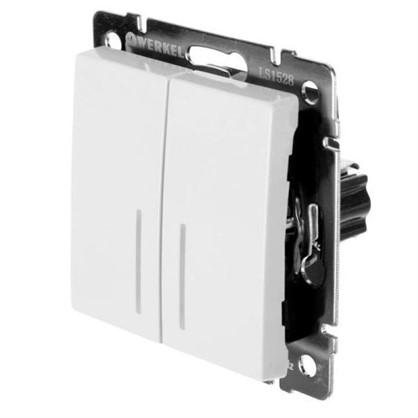 Выключатель Werkel 2 клавиши с подсветкой проходной цвет белый