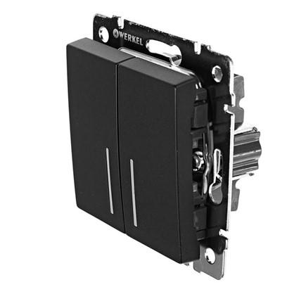 Выключатель Werkel 2 клавиши с подсветкой проходной цвет черный