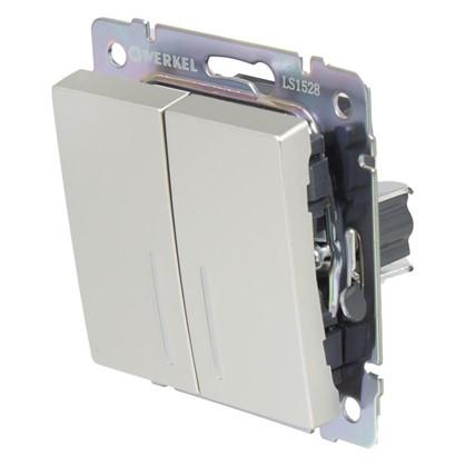 Купить Выключатель Werkel 2 клавиши с подсветкой проходной цвет серебро дешевле