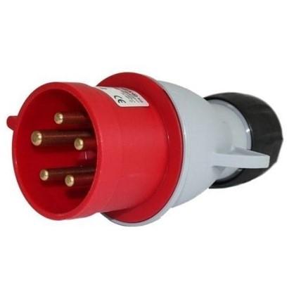 Вилка с заземлением Abb Icat ноль 32 А 380 В цвет красный