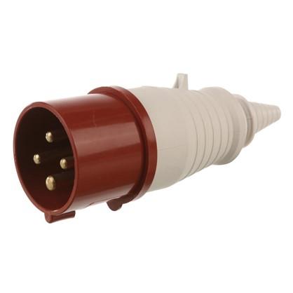 Вилка с заземлением IEK 380 В цвет красный