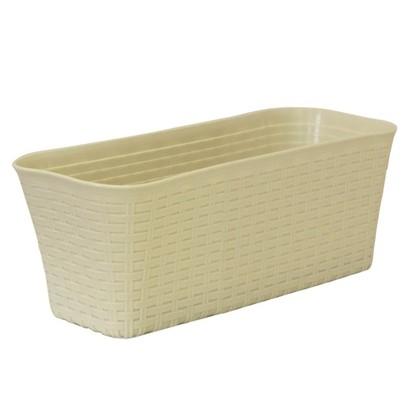 Купить Ящик балконный Ротанг белый 40 см пластик дешевле