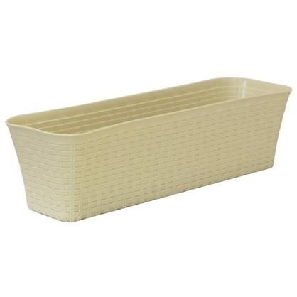 Купить Ящик балконный Ротанг белый 60 см пластик дешевле