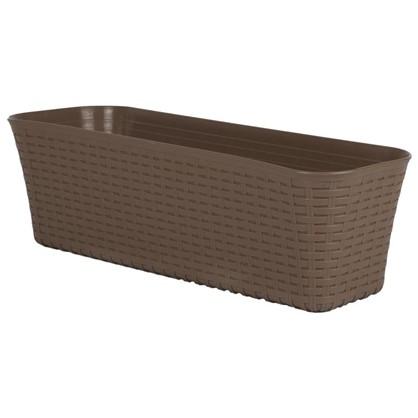 Купить Ящик балконный Ротанг бежевый 60 см пластик дешевле