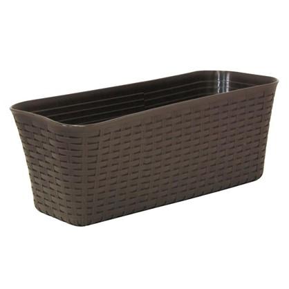 Купить Ящик балконный Ротанг коричневый 40 см пластик дешевле