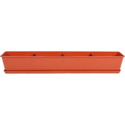 Купить Ящик балконный терракот 100 см пластик дешевле