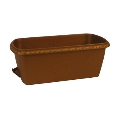 Купить Ящик балконный Жардин коричневый 60 см пластик дешевле