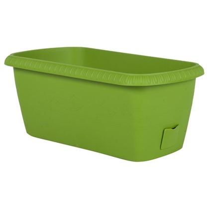 Купить Ящик балконный Жардин зелёный 40 см пластик дешевле