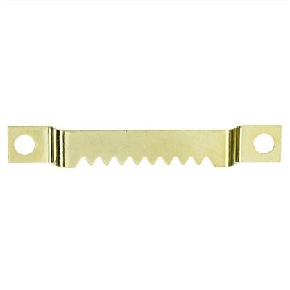 Зацеп зубчатый для рамки крепление шурупами большой 55 мм латунированная сталь