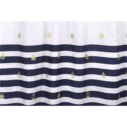 Занавеска Maritime gold 180х200 см полиэстер цвет белый/синий
