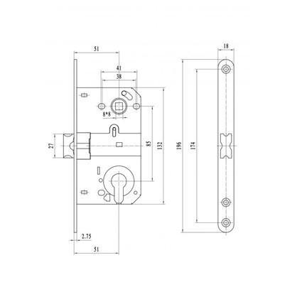 Защелка под цилиндр EDS-50-85 KEY с ключом цвет никель