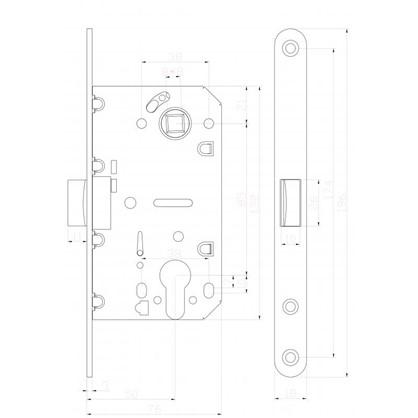 Купить Защелка под цилиндр EDS-50-85 KEY с ключом пластик цвет графит дешевле