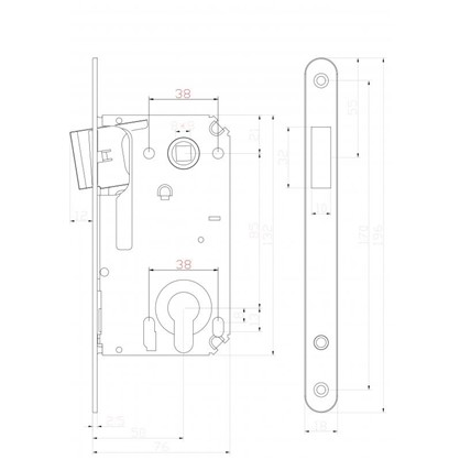 Защелка под цилиндр магнитная EDS-50-85 KEY с ключом пластик цвет никель