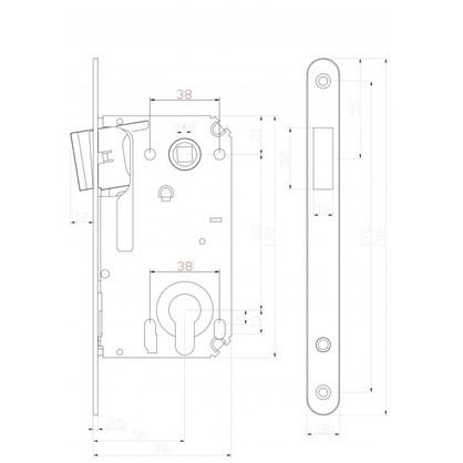 Купить Защелка под цилиндр магнитная EDS-50-85 с ключом цвет бронза дешевле