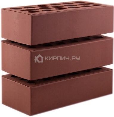 Кирпич для фасада бордо темный одинарный гладкий М-150 Керма