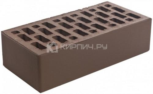 Кирпич облицовочный коричневый одинарный гладкий М-150 Браер