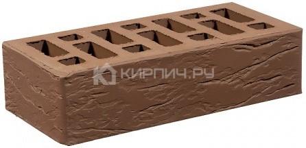 Кирпич для фасада коричневый одинарный рустик М-150 СтОскол
