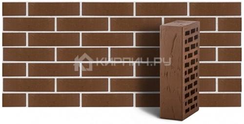 Кирпич облицовочный коричневый одинарный рустик М150 ЛСР
