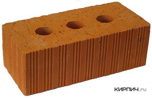 Кирпич строительный полнотелый с тех.пустотами полуторный М-150 рифленый Ломинцево