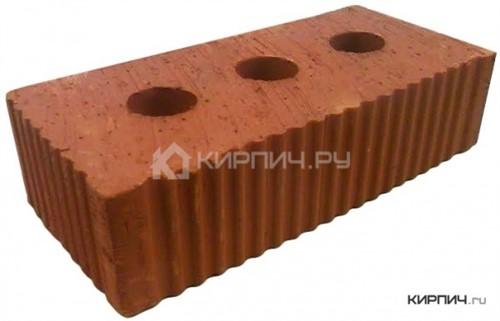 Кирпич керамический полнотелый с тех.пустотами полуторный М-250 рифленый Каширский кирпич