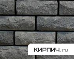 Силикатный кирпич черный полуторный рустированный ложок КЗСК
