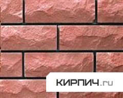 Силикатный кирпич розовый одинарный рустированный тычок КЗСК