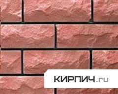 Силикатный кирпич розовый полуторный рустированный тычок КЗСК