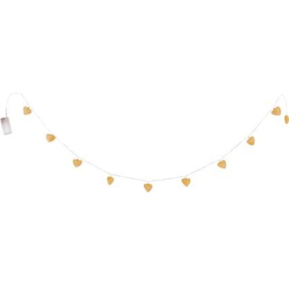 Гирлянда светодиодная Сердце на батарейках цвет хром/золото цена