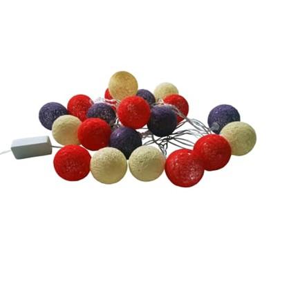 Гирлянда светодиодная шарики электрическая 4 м цвет синий/белый/красный цена