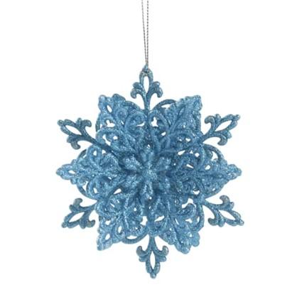 Украшение Новогоднее Снежинка Классика 4 См Пластик Цвет Голубой цена